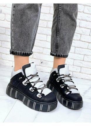 Чёрные кроссовки ботинки на платформе