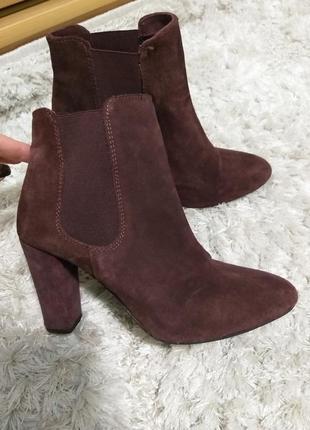 Ботинки замшевые марсала