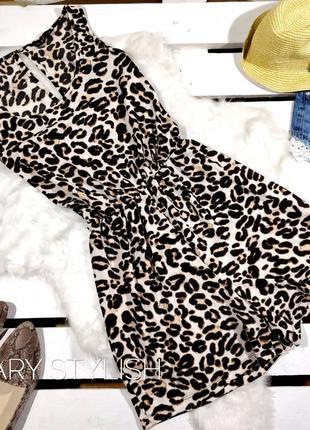 Шифоновый ромпер леопард
