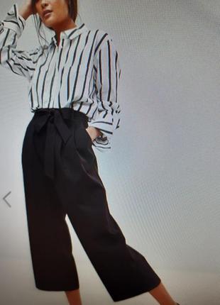Штаны брюки кюлоты с высокой посадкой черные большой размер