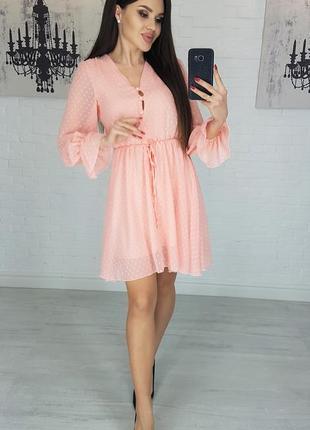 Платье шифон idiali цвет пудра мод.481