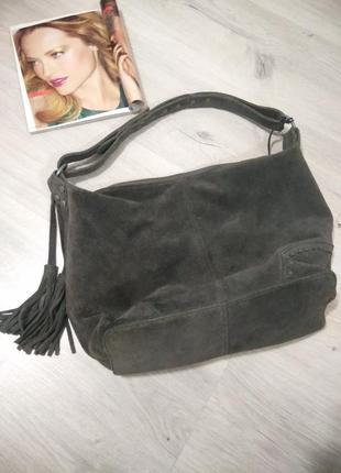 Фирменная женская замшевая сумка. сумка из натуральной замши.