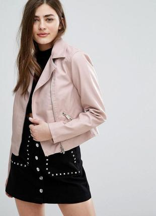 New look пудровая розовая куртка косуха, искусственная кожанка, р.14-42, m-l