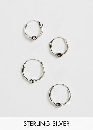 Срібні сережки кільця, серебряные серьги кольца kingsley ryan asos