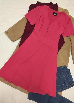 Holly willoughby розовое платье фуксия с пуговицами шифоновое миди большое батал