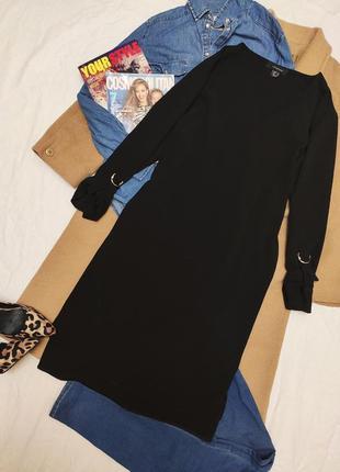 Платье рубашка чёрное оверсайз свободное большое батал миди прямое атмосфера