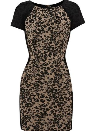 Warehouse трендовое мини платье, актуальный animal принт, р.12, s-m
