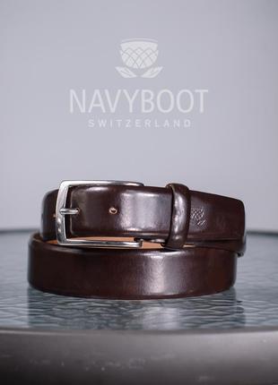 Ремень премиум класса navyboot, швейцария xs s мужской кожаный пояс
