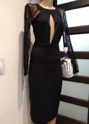 Стильное черное вечернее платье миди с гипюром