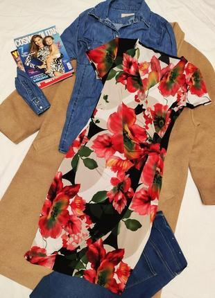 M&co платье с запахом чёрное бежевое красное цветочное классическое