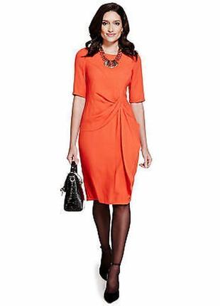 Оранжевое платье классическое шифоновое на подкладке per una