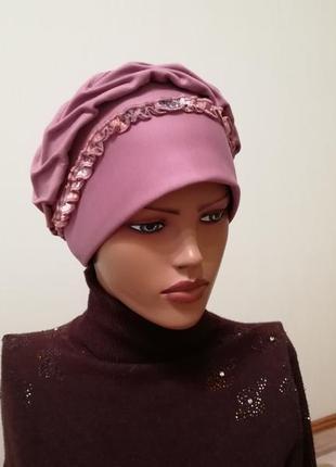 Шикарная шапка чалма на весну тёмная роза