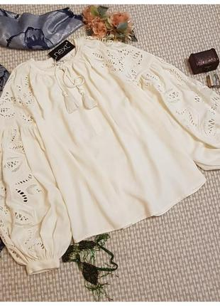 Шикарная блуза в стиле бохо next/с вышивкой/пышный рукав