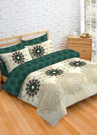 Комплект постельного белья с 4 наволочками, изумруд/беж все размеры