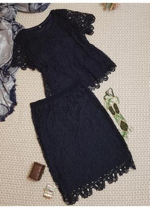 Кружевной костюм с юбкой only/комплект юбка+блуза/крупное кружево