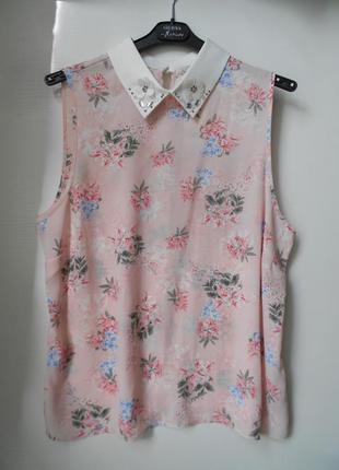 George нежная цветочная блуза с декором, р.14-42, наш 48-й