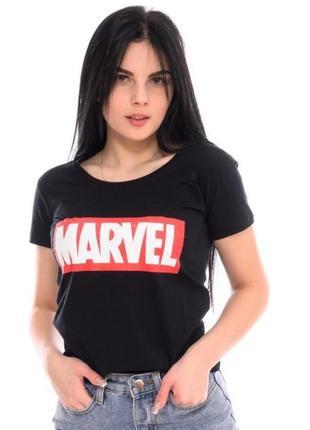 Черная футболка marvel марвел