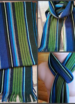 Стильный модный шарф шведского производиделя  riley с продольными разноцветными полосами.