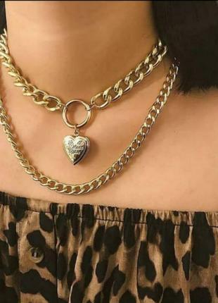 Чокер многоуровневый золото сердечко цепи на шею цепочка
