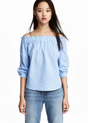 H&m нежная хлопковая блуза с приспущенными плечами, р.36, s-ка