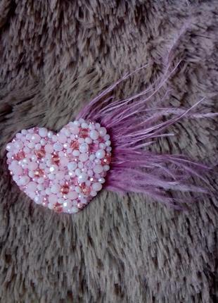 Брошь сердце розовое #розвантажуюсь