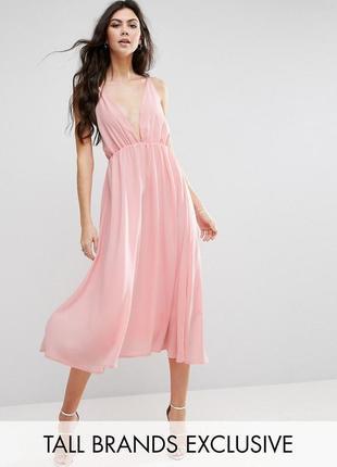 Невероятно нежное милое розовое вечернее платье миди на тонких бретельках true decadence