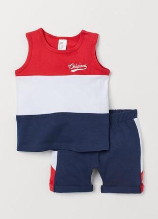 Летний костюм, набор шорты и майка для мальчика h&m, размер 9-12, 80