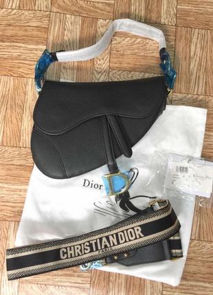 Чёрная сумка christian dior в натуральной коже