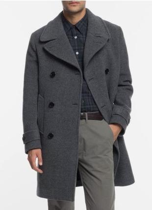 Мужское двубортное кашемировое пальто h&m р.l .