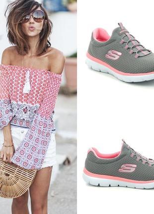 Потрясающие текстильные кроссовки американского бренда skechers summits gray/pink