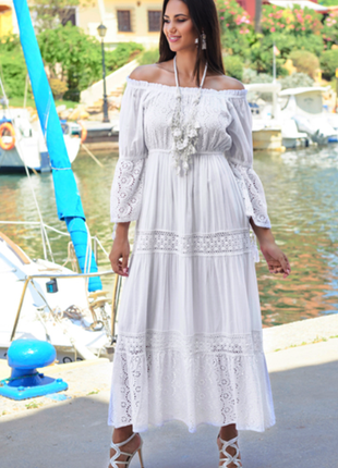 Новинка шикарное белое длинное платье с кружевом код 2513