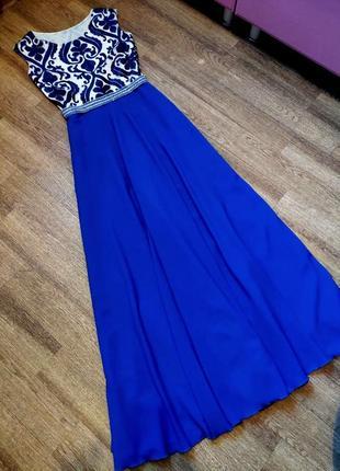 Синее платье в пол шикарное выпускное нарядное вечернее длинное