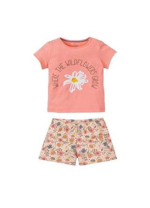 Пижама девочке летняя lupilu домашний костюм футболка и шорты 110/116 см 4-6 лет