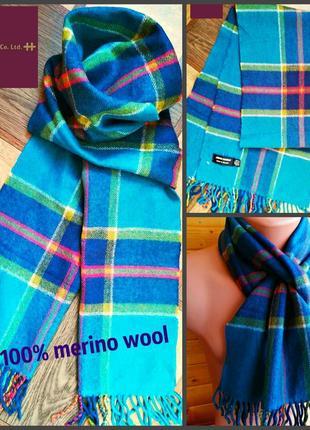Ирландский шерстяной шарф john hanly в клетку 100% merino wool.