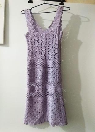 Платье вязаное крючком s, xs, бузковий