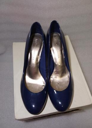 Стильные модные туфли синие лак uk 6