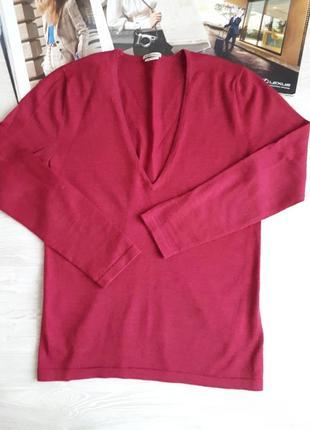 Шерстяной свитер джемпер пуловер 100% шерсть italian merino