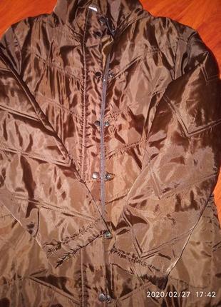 Sale до 08.06  удлиненная стеганая демисезонная куртка тренч пальто коричневого цвета