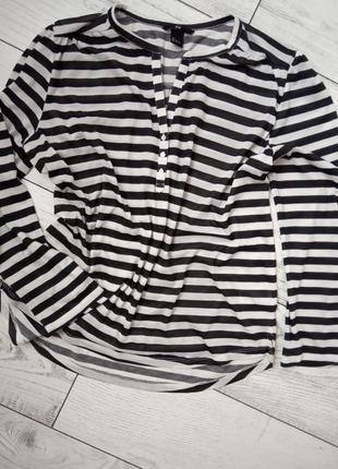 Чёрно белая полосатая блузка рубашка кофта в полоску оверсайз