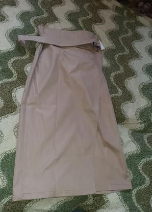 Яркая юбка на запах миди тренд высокая посадка талия5 фото