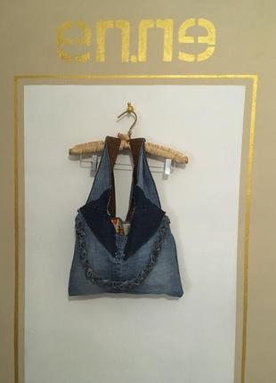 Новая джинсовая сумка с замшевыми ручками