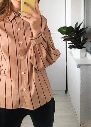 Бежевая рубашка оверсайз в полоску с обьемными рукавами bershka
