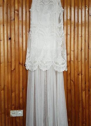 Шикарное вечернее, свадебное, выпускное платье h&m. фатин, вышивка