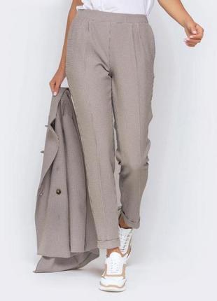 Цветные бежевые классические гусиную плотные брюки штаны в клетку карманами стрелками