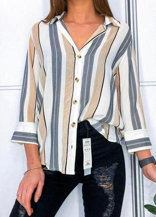 Блуза рубашка в полоску stradivarius