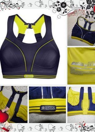 Обнова! спортивный топ для бега shock absorber ultimate run bra lemon navy (р.85d)