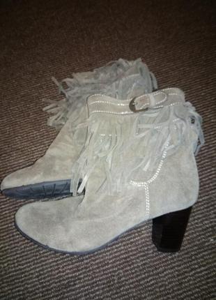Стильные актуальные ботинки замш с бахромой ремешком-36 р 23,5 24 см