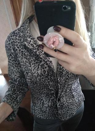 Укороченный в животный/ леопардовый принт жакет пиджак-s m