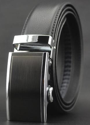 Мужской кожаный ремень автомат (ly87572) черный 110 - 130 см