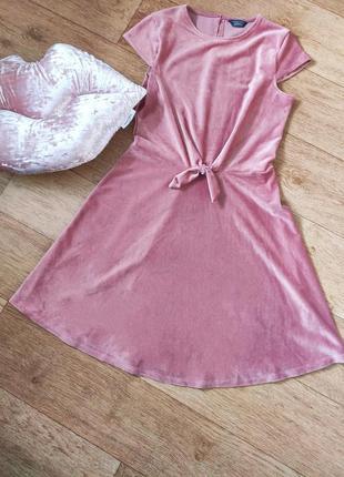 Афигенное пудровое платье велюр вельвет в рубчик завязка спереди 💣2 фото
